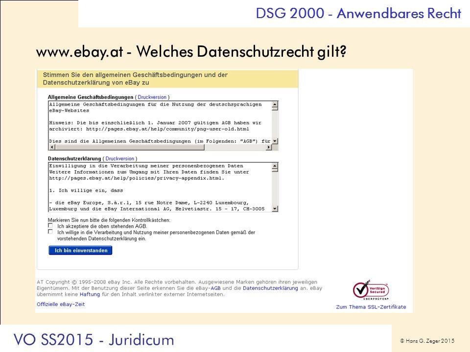 © Hans G. Zeger 2015 www.ebay.at - Welches Datenschutzrecht gilt.