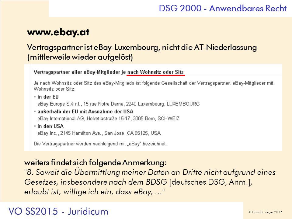 © Hans G. Zeger 2015 www.ebay.at Vertragspartner ist eBay-Luxembourg, nicht die AT-Niederlassung (mittlerweile wieder aufgelöst) weiters findet sich f