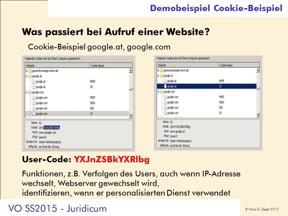 © Hans G. Zeger 2015 Was passiert bei Aufruf einer Website? Cookie-Beispiel google.at, google.com User-Code: YXJnZSBkYXRlbg Funktionen, z.B. Verfolgen