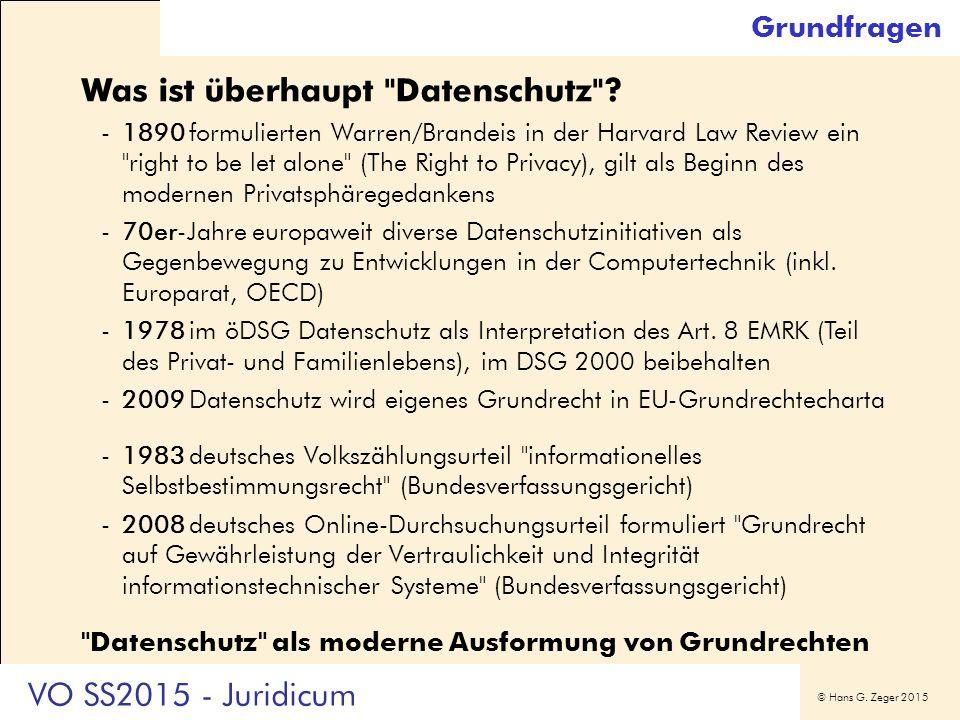 © Hans G. Zeger 2015 Grundfragen Was ist überhaupt Datenschutz .