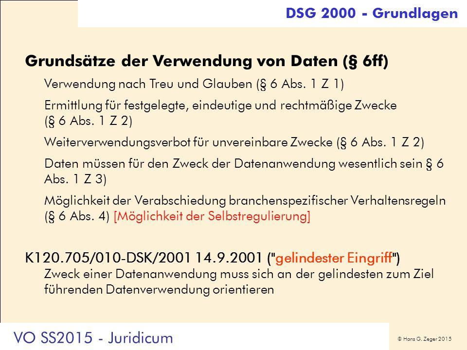 © Hans G. Zeger 2015 Grundsätze der Verwendung von Daten (§ 6ff) Verwendung nach Treu und Glauben (§ 6 Abs. 1 Z 1) Ermittlung für festgelegte, eindeut