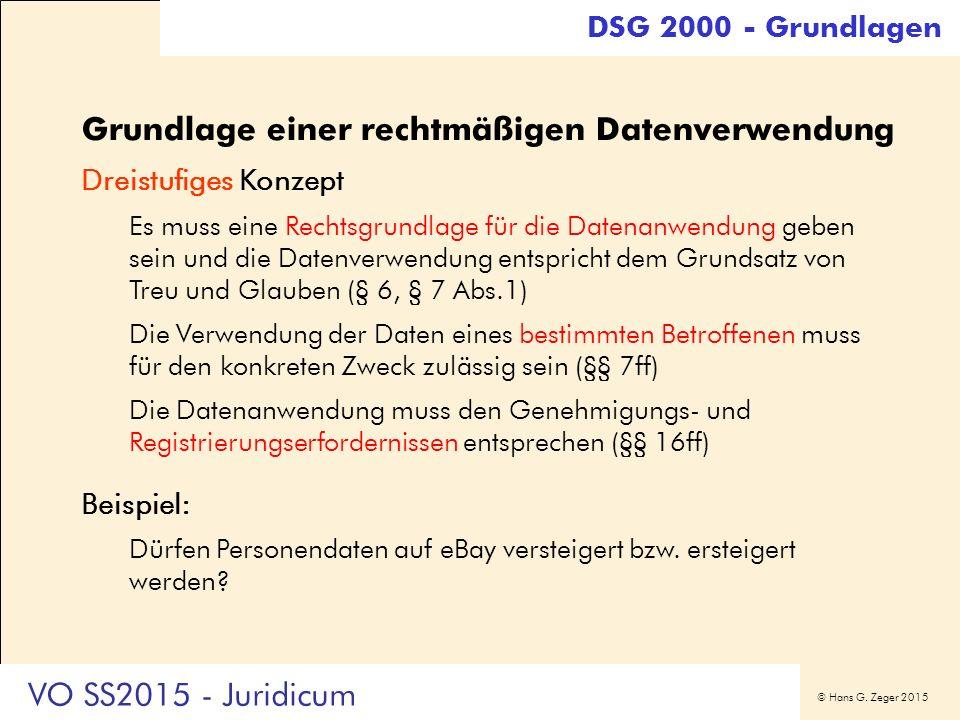 © Hans G. Zeger 2015 Grundlage einer rechtmäßigen Datenverwendung Dreistufiges Konzept Es muss eine Rechtsgrundlage für die Datenanwendung geben sein