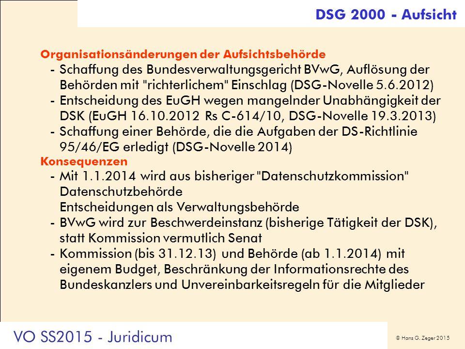 © Hans G. Zeger 2015 Organisationsänderungen der Aufsichtsbehörde -Schaffung des Bundesverwaltungsgericht BVwG, Auflösung der Behörden mit