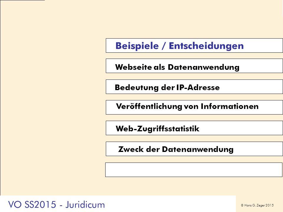 © Hans G. Zeger 2015 Webseite als Datenanwendung Bedeutung der IP-Adresse Veröffentlichung von Informationen Web-Zugriffsstatistik Zweck der Datenanwe
