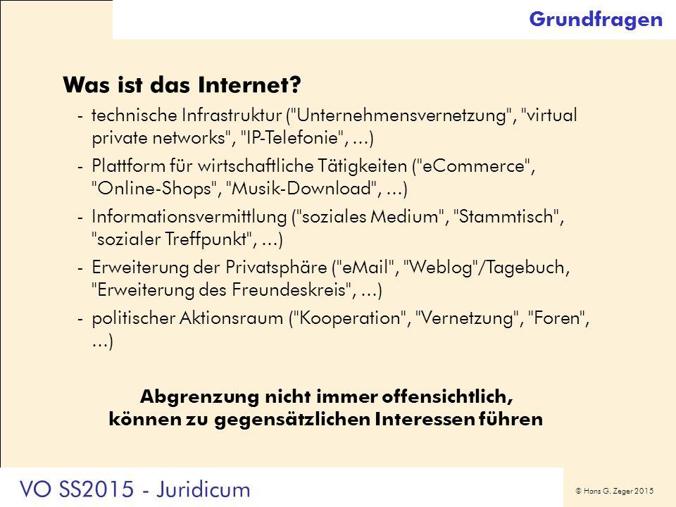 © Hans G. Zeger 2015 Grundfragen Was ist das Internet? -technische Infrastruktur (