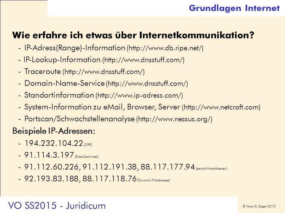 © Hans G. Zeger 2015 Grundlagen Internet Wie erfahre ich etwas über Internetkommunikation? -IP-Adress(Range)-Information (http://www.db.ripe.net/) - I