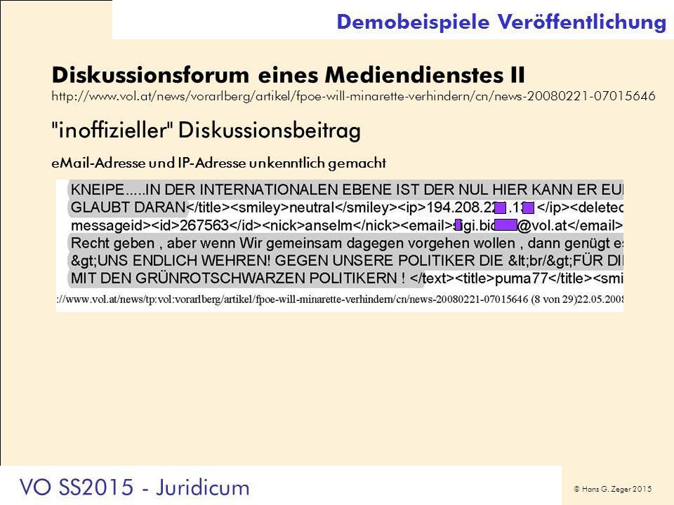 © Hans G. Zeger 2015 Diskussionsforum eines Mediendienstes II http://www.vol.at/news/vorarlberg/artikel/fpoe-will-minarette-verhindern/cn/news-2008022
