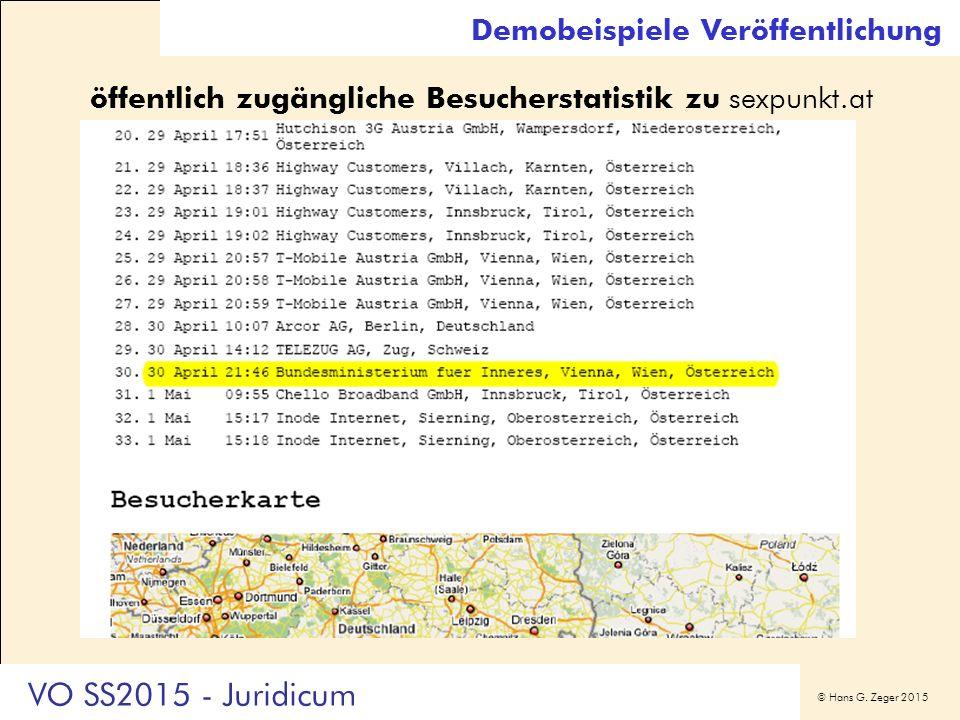 © Hans G. Zeger 2015 Demobeispiele Veröffentlichung öffentlich zugängliche Besucherstatistik zu sexpunkt.at VO SS2015 - Juridicum