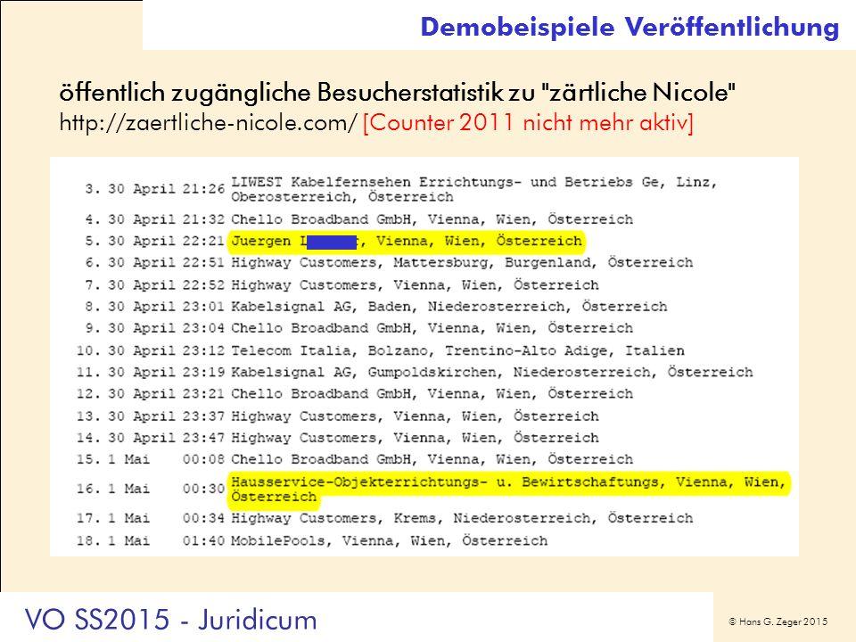 © Hans G. Zeger 2015 Demobeispiele Veröffentlichung öffentlich zugängliche Besucherstatistik zu