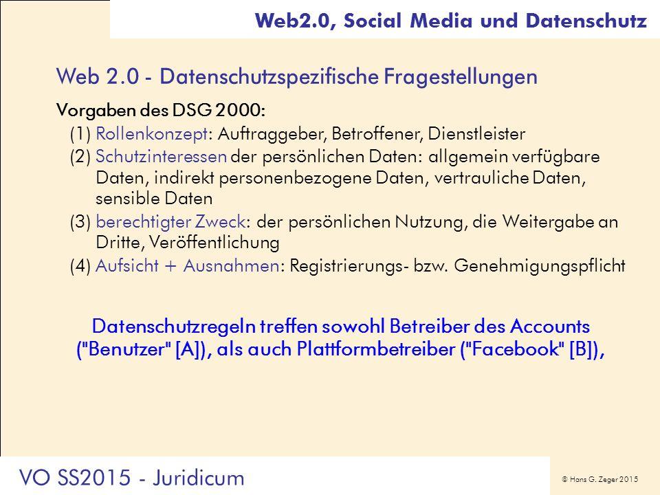 © Hans G. Zeger 2015 Web 2.0 - Datenschutzspezifische Fragestellungen Vorgaben des DSG 2000: (1)Rollenkonzept: Auftraggeber, Betroffener, Dienstleiste