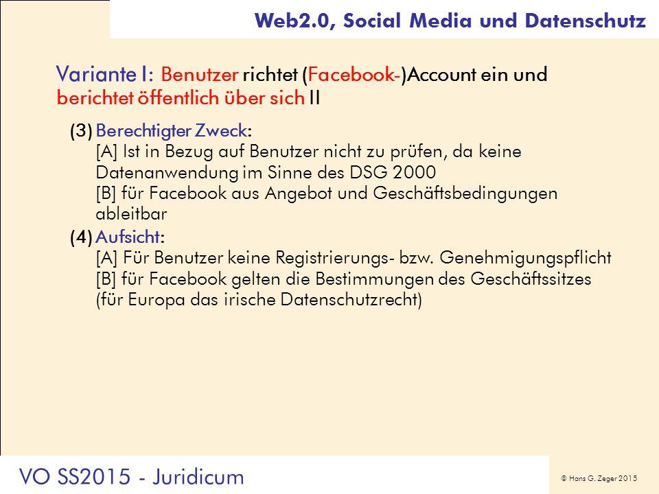 © Hans G. Zeger 2015 Variante I: Benutzer richtet (Facebook-)Account ein und berichtet öffentlich über sich II (3)Berechtigter Zweck: [A] Ist in Bezug