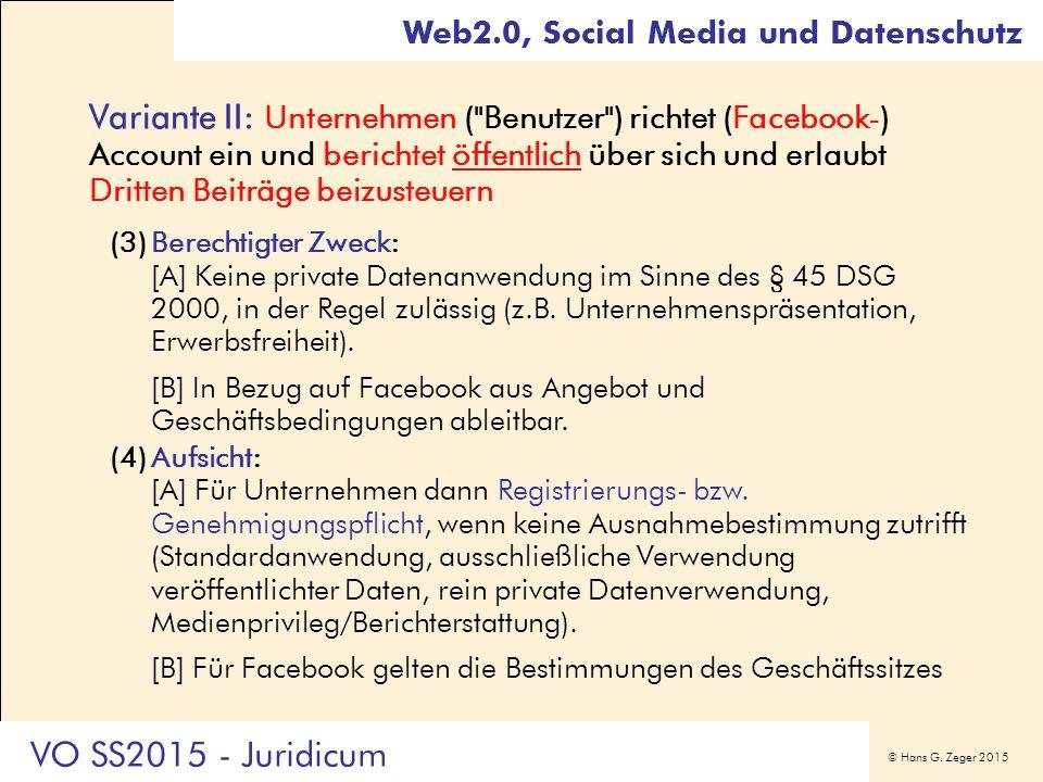 © Hans G. Zeger 2015 Variante II: Unternehmen (