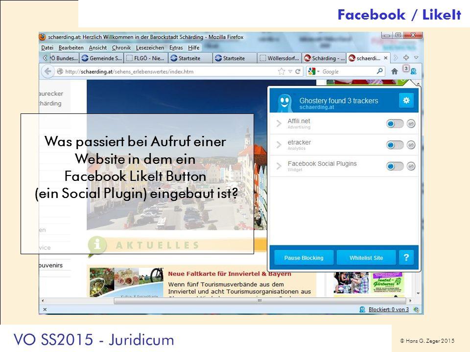 © Hans G. Zeger 2015 Facebook / LikeIt Was passiert bei Aufruf einer Website in dem ein Facebook LikeIt Button (ein Social Plugin) eingebaut ist? VO S