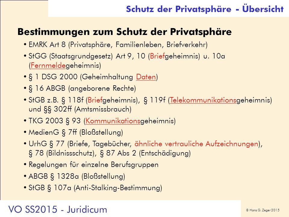 © Hans G. Zeger 2015 Bestimmungen zum Schutz der Privatsphäre EMRK Art 8 (Privatsphäre, Familienleben, Briefverkehr) StGG (Staatsgrundgesetz) Art 9, 1