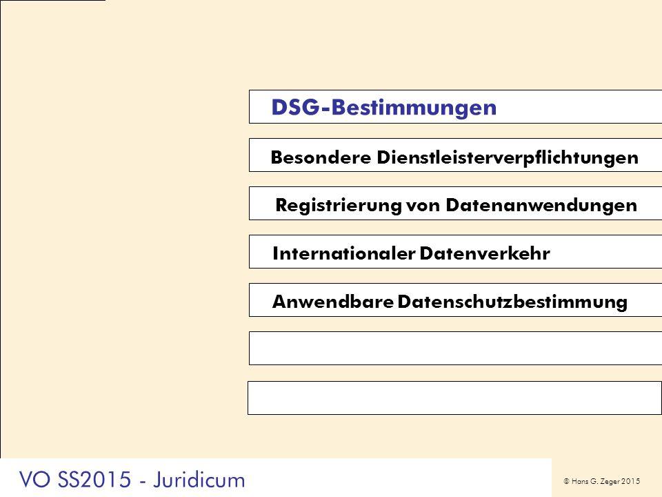 © Hans G. Zeger 2015 Besondere Dienstleisterverpflichtungen Registrierung von Datenanwendungen DSG-Bestimmungen Anwendbare Datenschutzbestimmung Inter