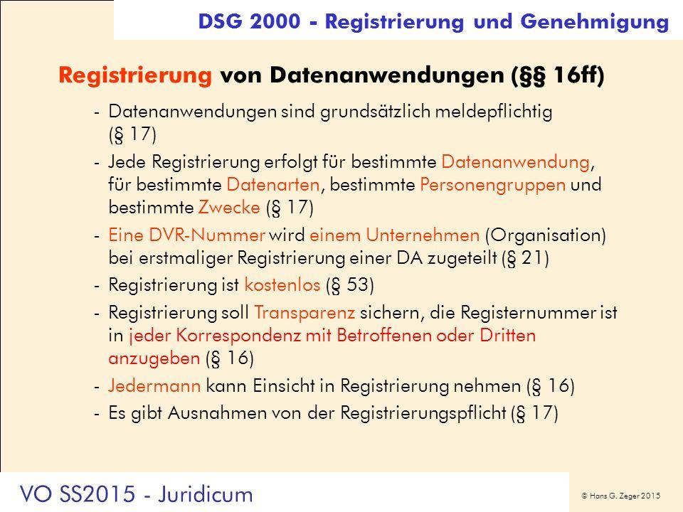 © Hans G. Zeger 2015 Registrierung von Datenanwendungen (§§ 16ff) -Datenanwendungen sind grundsätzlich meldepflichtig (§ 17) -Jede Registrierung erfol