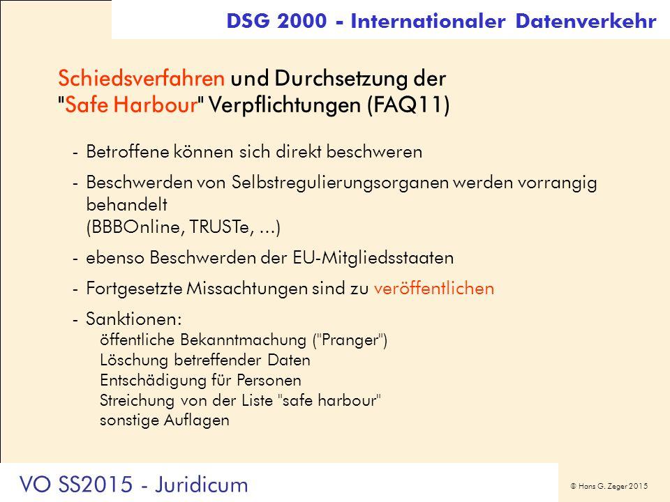 © Hans G. Zeger 2015 Schiedsverfahren und Durchsetzung der