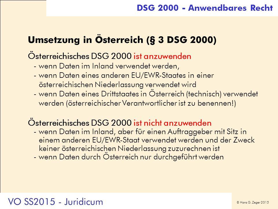 © Hans G. Zeger 2015 Umsetzung in Österreich (§ 3 DSG 2000) Österreichisches DSG 2000 ist anzuwenden -wenn Daten im Inland verwendet werden, -wenn Dat