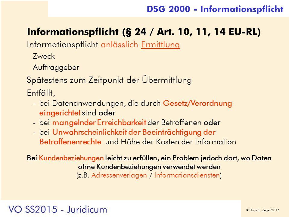 © Hans G. Zeger 2015 Informationspflicht (§ 24 / Art. 10, 11, 14 EU-RL) Informationspflicht anlässlich Ermittlung Zweck Auftraggeber Spätestens zum Ze