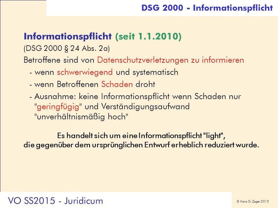 © Hans G. Zeger 2015 Informationspflicht (seit 1.1.2010) (DSG 2000 § 24 Abs.
