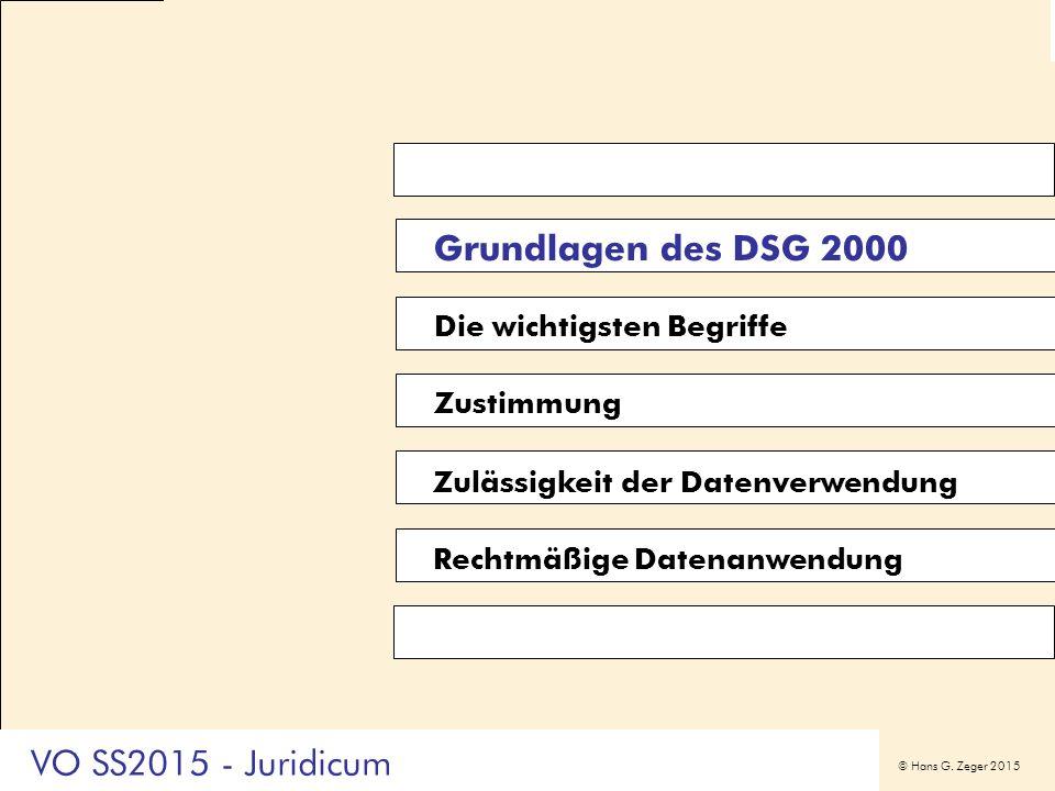 © Hans G. Zeger 2015 Grundlagen des DSG 2000 Die wichtigsten Begriffe Zustimmung Zulässigkeit der Datenverwendung Rechtmäßige Datenanwendung VO SS2015