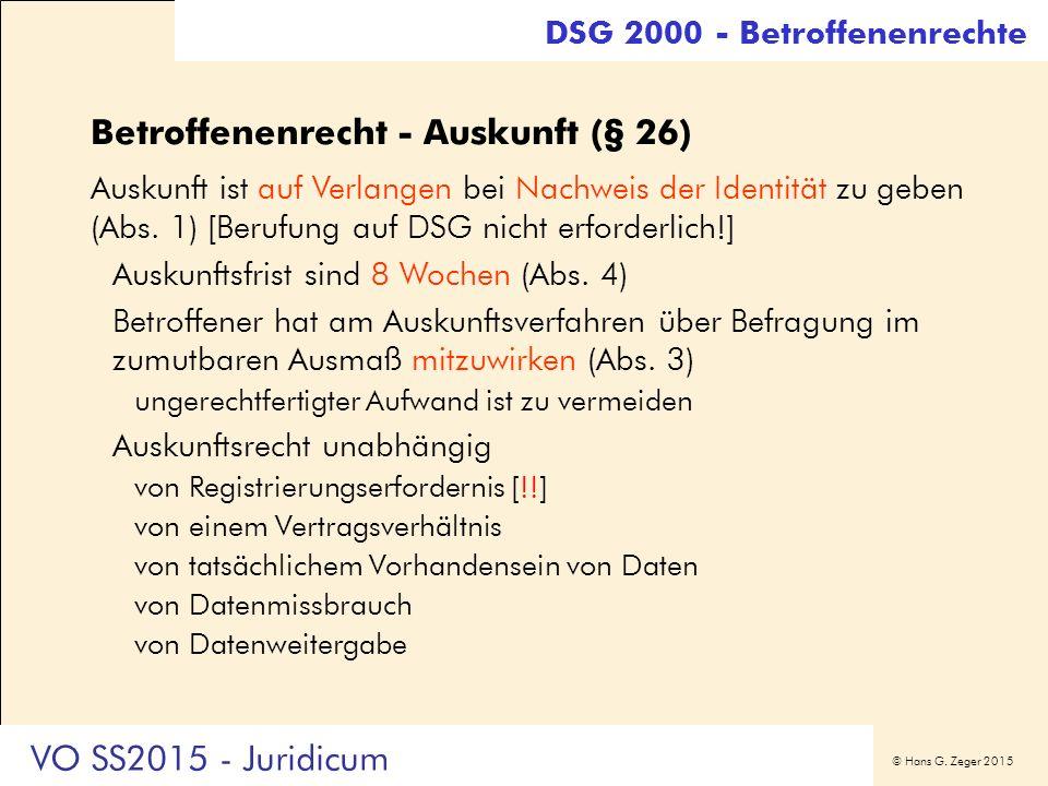 © Hans G. Zeger 2015 Betroffenenrecht - Auskunft (§ 26) Auskunft ist auf Verlangen bei Nachweis der Identität zu geben (Abs. 1) [Berufung auf DSG nich