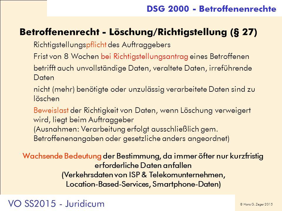 © Hans G. Zeger 2015 DSG 2000 - Betroffenenrechte Betroffenenrecht - Löschung/Richtigstellung (§ 27) Richtigstellungspflicht des Auftraggebers Frist v