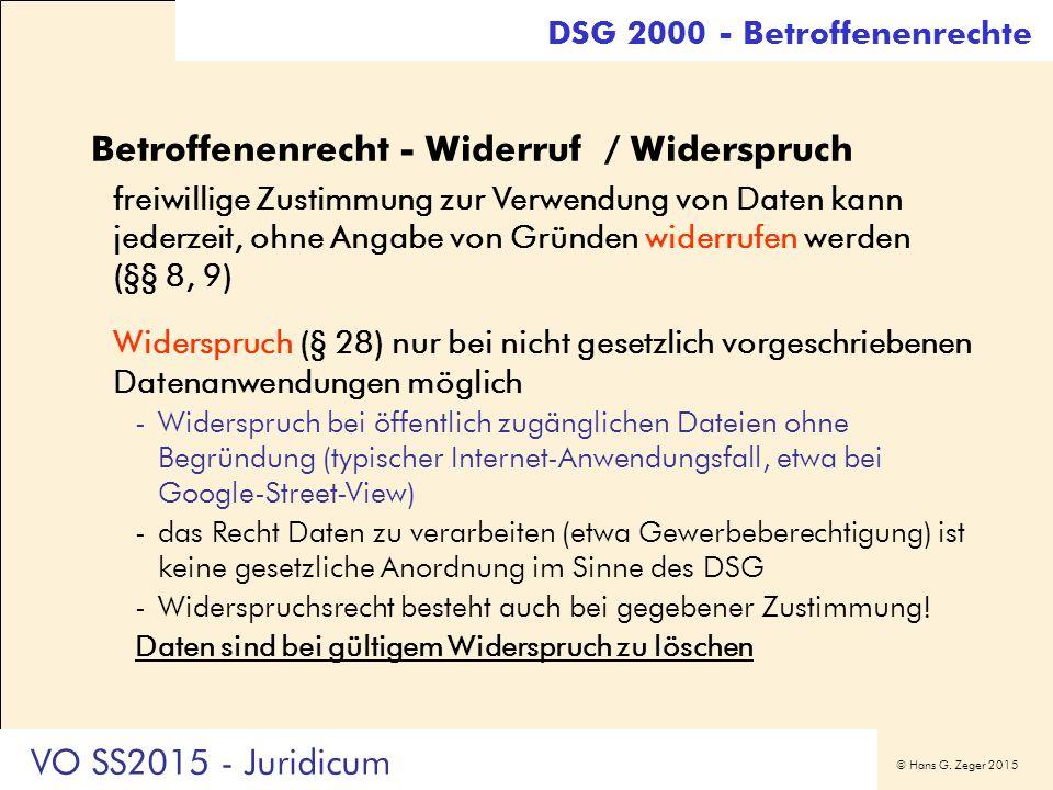 © Hans G. Zeger 2015 Betroffenenrecht - Widerruf / Widerspruch freiwillige Zustimmung zur Verwendung von Daten kann jederzeit, ohne Angabe von Gründen