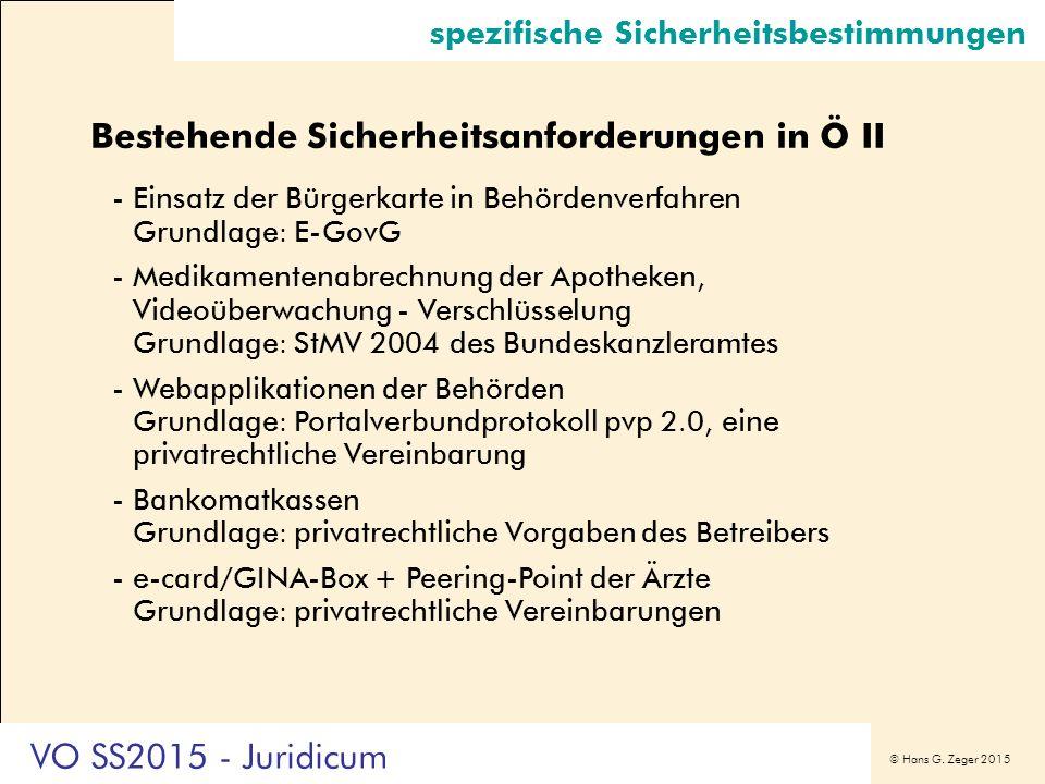 © Hans G. Zeger 2015 spezifische Sicherheitsbestimmungen Bestehende Sicherheitsanforderungen in Ö II -Einsatz der Bürgerkarte in Behördenverfahren Gru