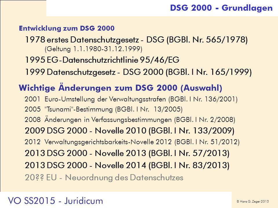 © Hans G. Zeger 2015 Entwicklung zum DSG 2000 1978erstes Datenschutzgesetz - DSG (BGBl. Nr. 565/1978) (Geltung 1.1.1980-31.12.1999) 1995EG-Datenschutz