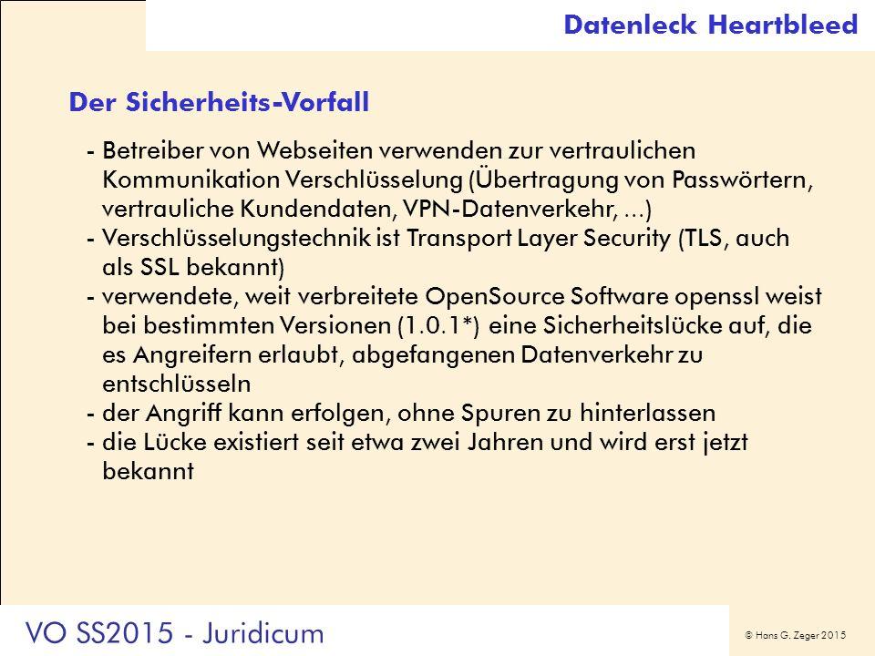 © Hans G. Zeger 2015 Der Sicherheits-Vorfall -Betreiber von Webseiten verwenden zur vertraulichen Kommunikation Verschlüsselung (Übertragung von Passw
