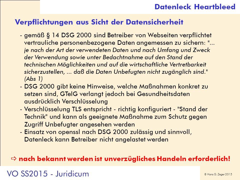 © Hans G. Zeger 2015 Verpflichtungen aus Sicht der Datensicherheit -gemäß § 14 DSG 2000 sind Betreiber von Webseiten verpflichtet vertrauliche persone