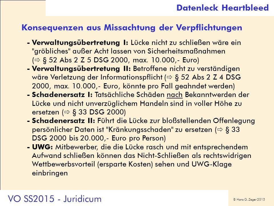 © Hans G. Zeger 2015 Konsequenzen aus Missachtung der Verpflichtungen -Verwaltungsübertretung I: Lücke nicht zu schließen wäre ein