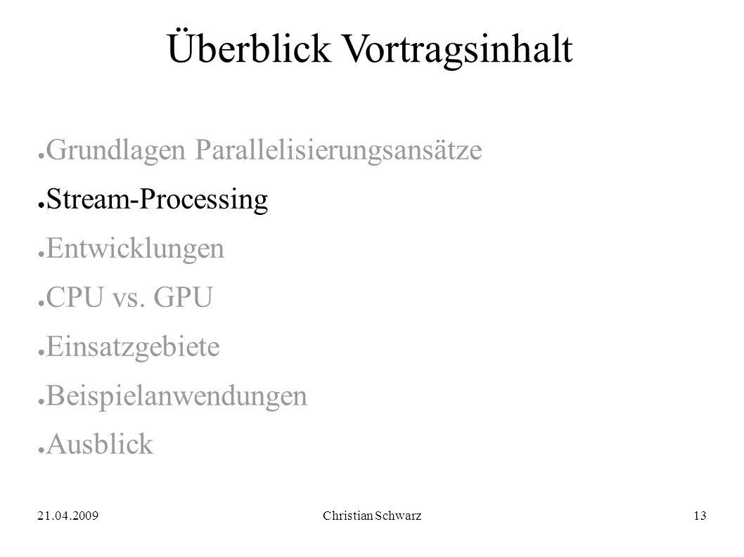 21.04.2009Christian Schwarz13 Überblick Vortragsinhalt ● Grundlagen Parallelisierungsansätze ● Stream-Processing ● Entwicklungen ● CPU vs.