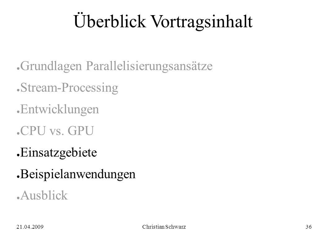 21.04.2009Christian Schwarz36 Überblick Vortragsinhalt ● Grundlagen Parallelisierungsansätze ● Stream-Processing ● Entwicklungen ● CPU vs.