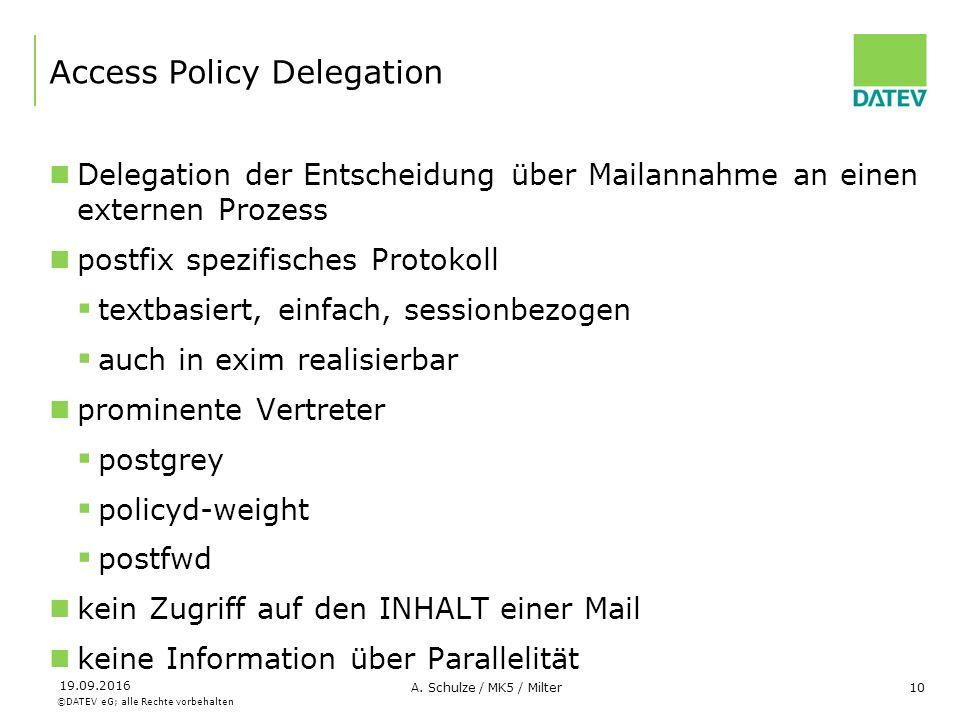 ©DATEV eG; alle Rechte vorbehalten 19.09.2016 A. Schulze / MK5 / Milter10 Access Policy Delegation Delegation der Entscheidung über Mailannahme an ein