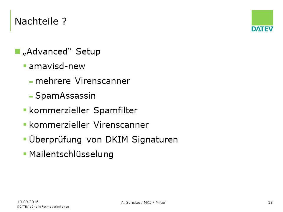 """©DATEV eG; alle Rechte vorbehalten 19.09.2016 A. Schulze / MK5 / Milter13 Nachteile ? """"Advanced"""" Setup  amavisd-new - mehrere Virenscanner - SpamAssa"""