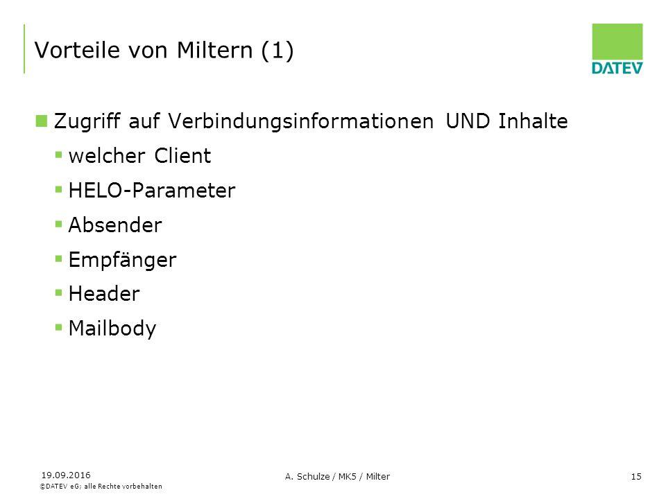 ©DATEV eG; alle Rechte vorbehalten 19.09.2016 A. Schulze / MK5 / Milter15 Vorteile von Miltern (1) Zugriff auf Verbindungsinformationen UND Inhalte 
