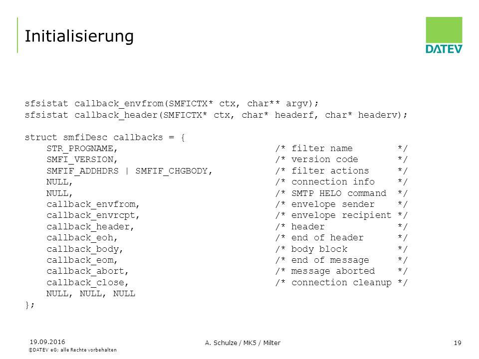 ©DATEV eG; alle Rechte vorbehalten 19.09.2016 A. Schulze / MK5 / Milter19 Initialisierung sfsistat callback_envfrom(SMFICTX* ctx, char** argv); sfsist