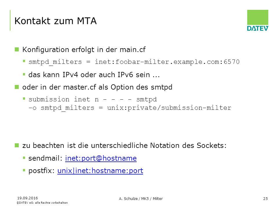 ©DATEV eG; alle Rechte vorbehalten 19.09.2016 A. Schulze / MK5 / Milter25 Kontakt zum MTA Konfiguration erfolgt in der main.cf  smtpd_milters = inet: