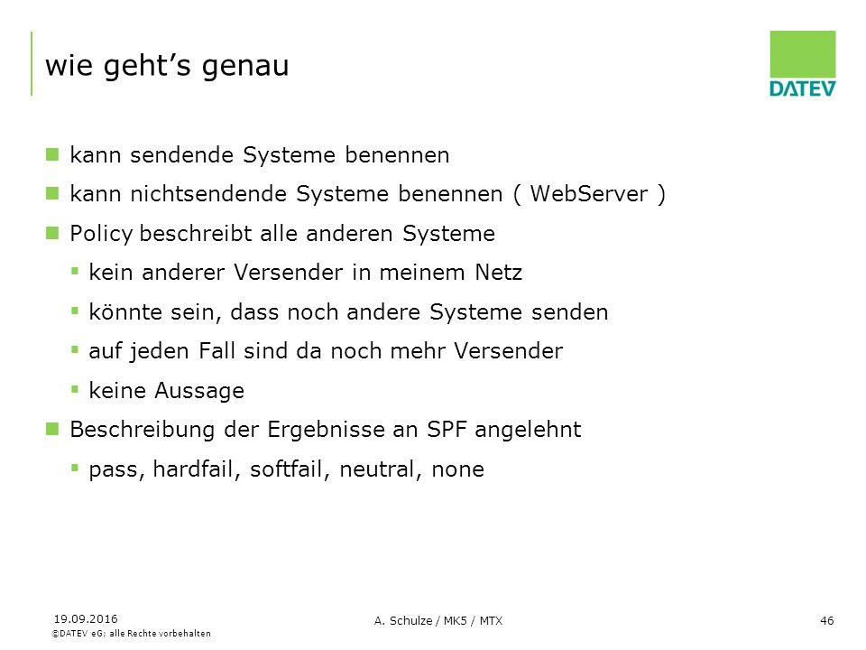 ©DATEV eG; alle Rechte vorbehalten 19.09.2016 A. Schulze / MK5 / MTX46 wie geht's genau kann sendende Systeme benennen kann nichtsendende Systeme bene
