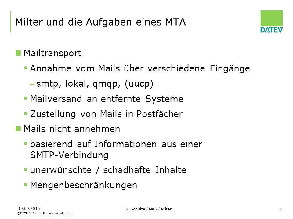 ©DATEV eG; alle Rechte vorbehalten 19.09.2016 A. Schulze / MK5 / Milter6 Milter und die Aufgaben eines MTA Mailtransport  Annahme vom Mails über vers