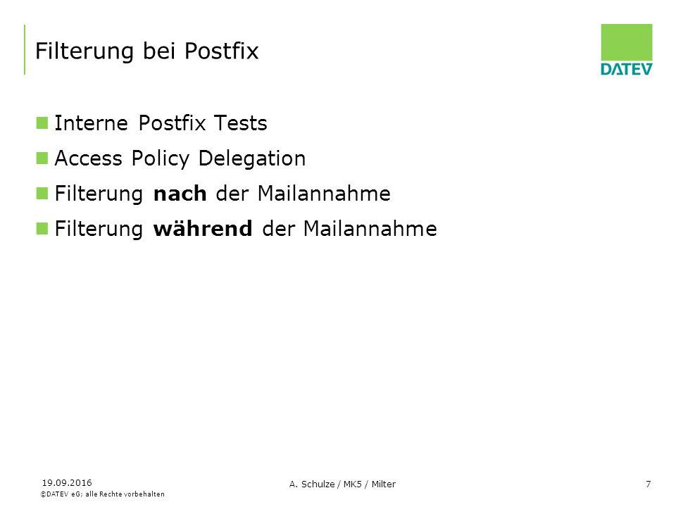 ©DATEV eG; alle Rechte vorbehalten 19.09.2016 A. Schulze / MK5 / Milter7 Filterung bei Postfix Interne Postfix Tests Access Policy Delegation Filterun