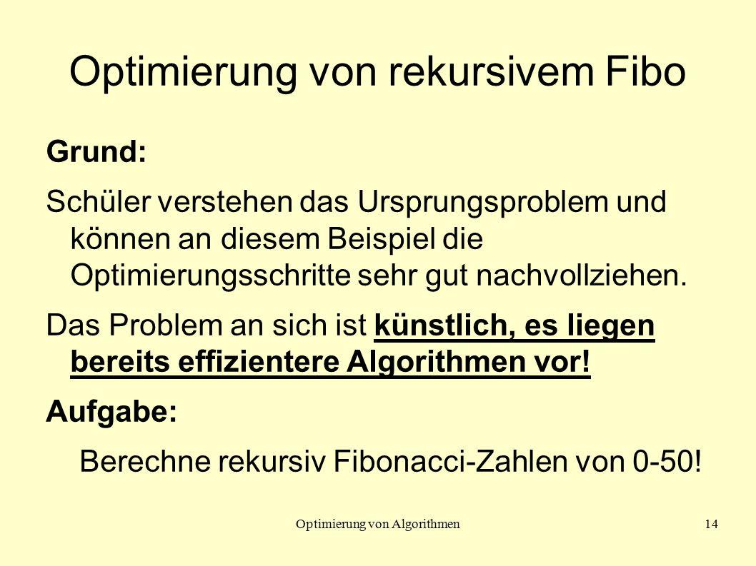 Optimierung von Algorithmen14 Optimierung von rekursivem Fibo Grund: Schüler verstehen das Ursprungsproblem und können an diesem Beispiel die Optimierungsschritte sehr gut nachvollziehen.