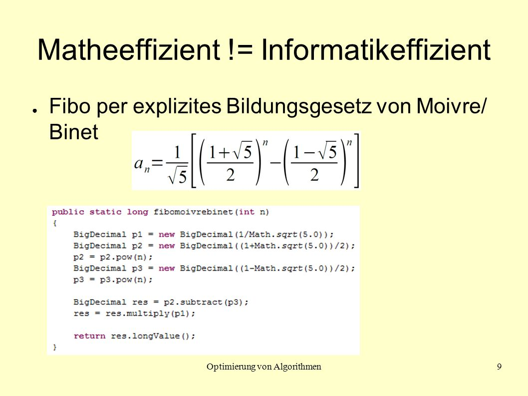 Optimierung von Algorithmen10 Rechenzeiten: fibo(0) - fibo(50) ● Hängen u.a.