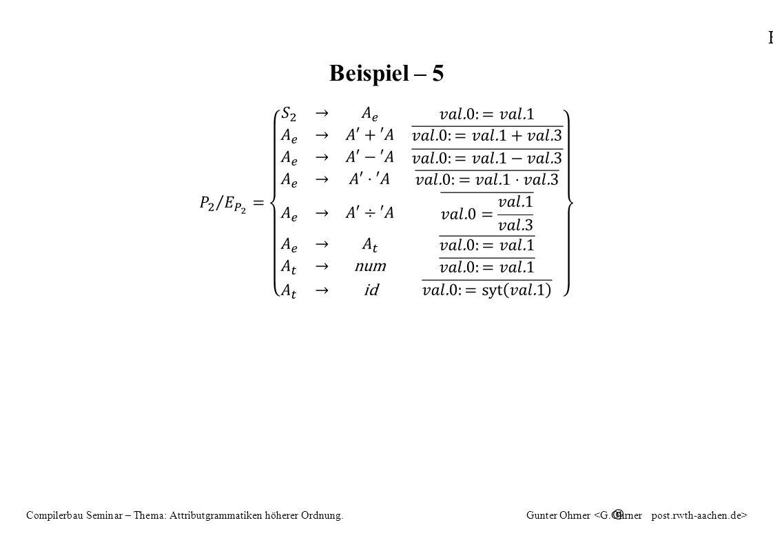 HAG 21 Compilerbau Seminar – Thema: Attributgrammatiken höherer Ordnung.Gunter Ohrner Beispiel – 5