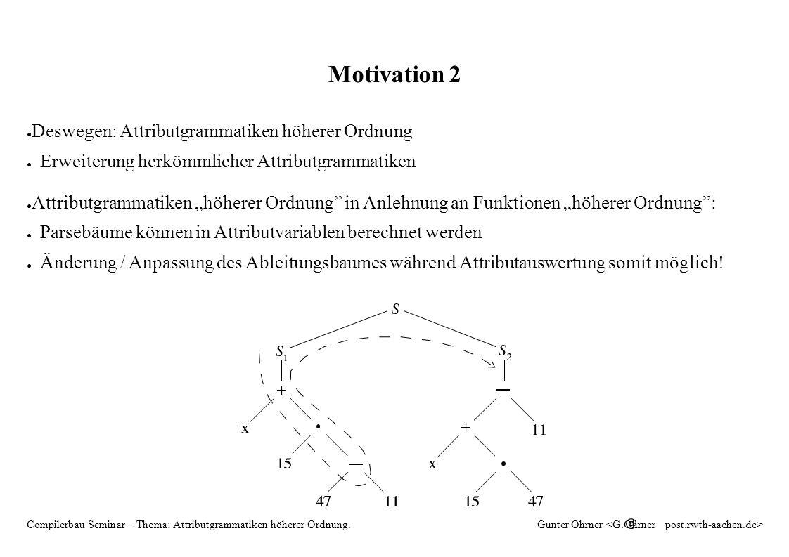 HAG 26 Compilerbau Seminar – Thema: Attributgrammatiken höherer Ordnung.Gunter Ohrner Attributauswertung – erweiterte Abhängigkeitsrelation Sei die erweiterte Kantenrelation.