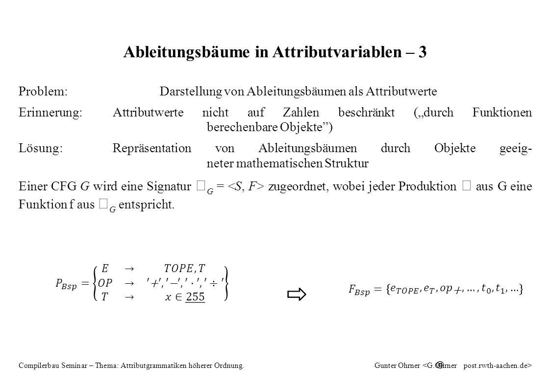 """HAG 9 Compilerbau Seminar – Thema: Attributgrammatiken höherer Ordnung.Gunter Ohrner Ableitungsbäume in Attributvariablen – 3 Problem:Darstellung von Ableitungsbäumen als Attributwerte Erinnerung:Attributwerte nicht auf Zahlen beschränkt (""""durch Funktionen berechenbare Objekte ) Lösung:Repräsentation von Ableitungsbäumen durch Objekte geeig- neter mathematischen Struktur Einer CFG G wird eine Signatur G = zugeordnet, wobei jeder Produktion aus G eine Funktion f aus G entspricht."""