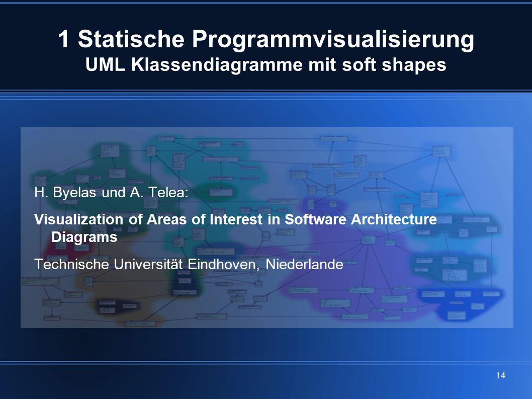 14 1 Statische Programmvisualisierung UML Klassendiagramme mit soft shapes H. Byelas und A. Telea: Visualization of Areas of Interest in Software Arch