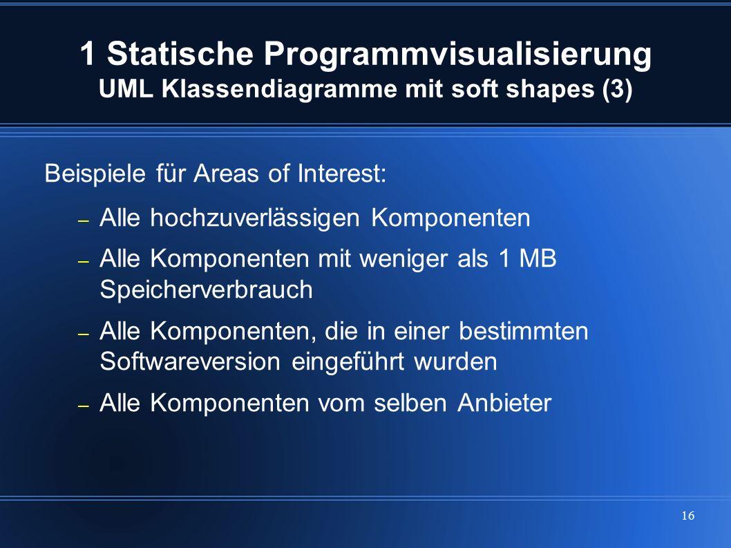 16 1 Statische Programmvisualisierung UML Klassendiagramme mit soft shapes (3) Beispiele für Areas of Interest: – Alle hochzuverlässigen Komponenten –